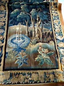 French Antique Aubusson Tapestry 17 Th Century Verdure At The Fountain