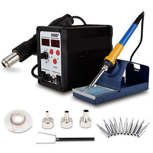 Vivohome 2in1 898d Soldering Iron Rework Station Hot Air Gun 11 Tips Heat Gun