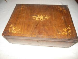 Antique Inlaid Florals Wood Treasure Jewelry Document Box 1800 S Mirrored Lid