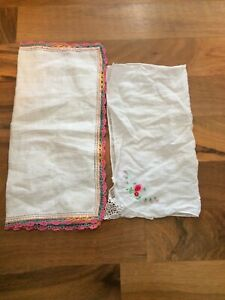 Vintage White Hankies Pink Crocheted Lace Edge Trim Pink Flowers On The Other