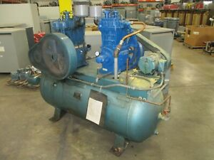 Quincy Duplex Air Compressor 340qrb 2 5hp Motors 230 460v 3ph Used