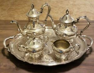 Vtg 6 Pc Oneida Silver Plate Coffee Tea Service Set W Serving Tray Ohs257 Exc