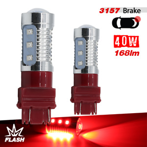 2x 3157 3155 Strobe Flashing Blinking 12led Red Brake Tail Stop Lamp Light Bulbs