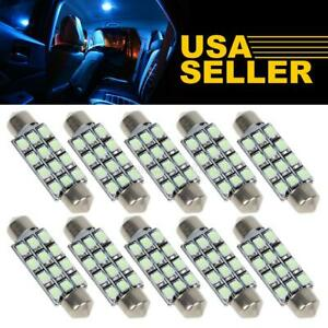 10x Ice Blue Led Lights 12 smd 42mm 43mm Festoon Car Dome Map Interior Bulbs 211