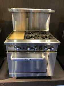 New 36 Range 12 Griddle 4 Burners 1 Full Oven Stove Lp Gas Free Liftgate Del