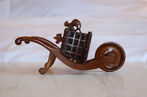 Black Forest Hand Carved Inkwell Push Cart W Trunk Carved Cat