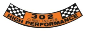 Ford 1968 1969 302 High Performance Air Cleaner Decal