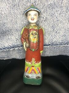 Chinese Antique Famille Rose Porcelain Emperor Figurine Statue With Mark 11