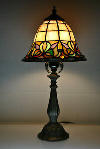 Vintage Tiffany Style Stained Slag Glass Dome Lamp Desk Table 17 Tall