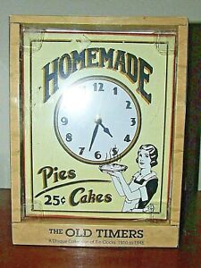 Old Timers Tin Wall Clock Pies And Cakes 25 Cents Tin Reproduction New Old Stock