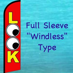 Look Windless Feather Flag Tall Curved Top Used Cars Advertising Banner Sign