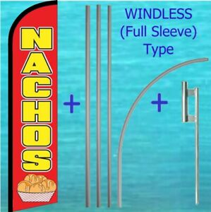 Nachos Windless Banner Flag Pole Mount Kit Tall Feather Super Advertising Sign