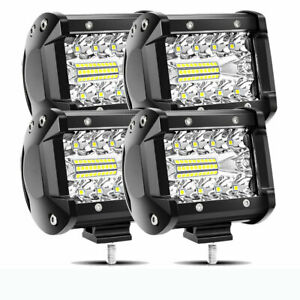Pair 4inch 72w Led Driving Lights Spot Round Spotlights Black Offroad 4x4