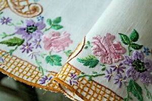 Vtg Antique Irish Linen Floral Hand Embroidered Placemat Table Mat Spring
