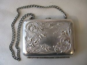 Antique Art Nouveau Woman Inside Silver Card Case Aide Memoire Compact Purse