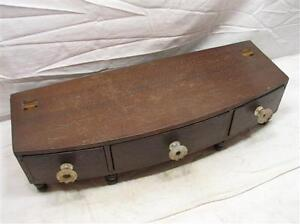 Antique Wooden Dresser Box Vanity Mirror Base Hand Dove Tailed Drawers Chest