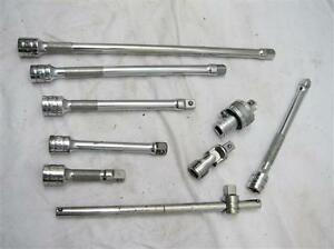 Snap on 3 8 Drive Ratchet Adapter Extensions T handle Universal Wobble Bars