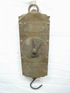 Antique Larro Farm Feed Sack 60lb Brass Face Hanging Market Scale Tool Forschner