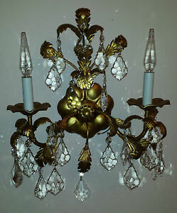Vintage Tole Gold Italian Italy Chandelier Wall Light 25 Crystals Fixture 1950 S