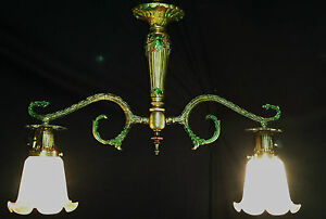 Vintage France Billiard Style Ceiling Chandelier Fixture Vianne Glass Shade 50 S