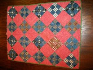 Antique Early Blue Calico 9 Patch Crib Quilt Primitive