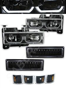 Black Headlights W U Bar Led Signal Lights For 1994 1999 Chevy C k Full Size