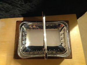 Vintage Silver Plated Footed Cake Dessert Stand Basket Centre Piece Art Deco