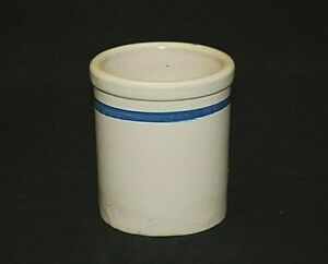 Old Vintage Primitive Stoneware Crock W Cobalt Blue Band Kitchen Utensil Holder