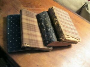 Antique Primitive Early Calico Covered 19th C School Books Lot Of 4 Brown Blue