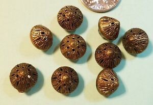 9 Antique Brass Filagree Vest Or Glove Buttons Conical Shape 3 8 Across