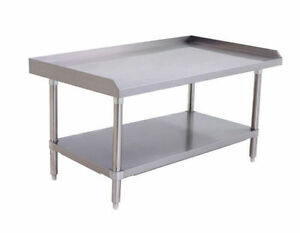 Stainless Steel Equipment Stand 48 Long X 28 Deep X 24 Height Adj Undershelf