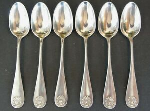 Set Of 6 Durgin Sterling Silver 5 7 8 Shell Teaspoon Sold By Shreve Crump