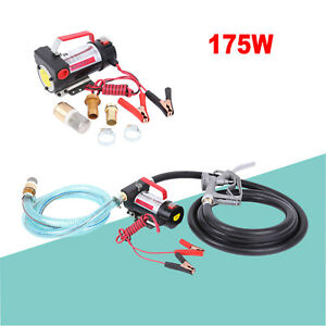 Electric Fuel Transfer Pump Hose Diesel Kerosene Oil Commercial Dc 12v 175w Kit