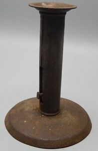 Antique 19th Century Tin Iron Hogscraper Candlestick Candle Holder