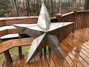 60 Rusted Metal Star Barn Old Roof Rusty Sign Texas Silver Handmade Primitive