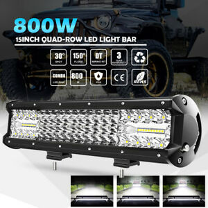 4 Row 12inch 800w Cree Led Work Light Bar Combo Beam Driving Off Road Truck 14