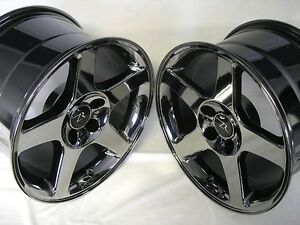 17 Black Chrome 03 04 Mustang Cobra Replica Wheels Staggered 17x9 17x10 5 5x4 5