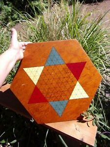 Vintage Folk Art Made Game Board Chinese Checkers Mid Century Primitive Decor
