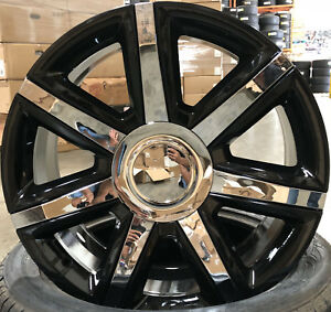 24 Wheels Tires Cadillac Escalade Platinum Style Black Rims Ext Esv 22 26