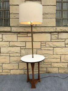 Mid Century Modern Walnut Gold White Formica Floor Lamp Table