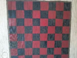 Antique 19th C Hand Painted 2 Sided Game Checker Board Parcheesi Primitive
