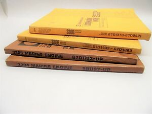 Vtg Caterpillar 3304 3306 Marine Engine Parts Book Lot Of 4 Free Shipping