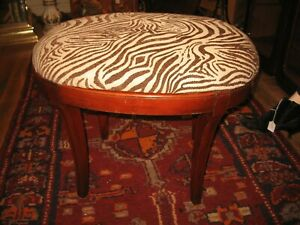 Vintage Vanity Bench Zebra Upholstered Mahogany Finish Piano Chair Sewing Stool