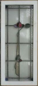 Large Old English Leaded Stained Glass Window Pretty Floral Stem 15 5 X 36 75