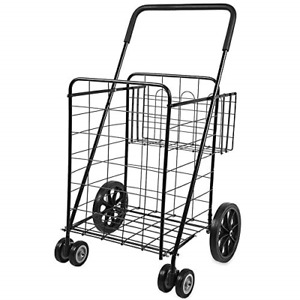 Forup Utility Shopping Cart With Rolling Swivel Wheels Jumbo Size