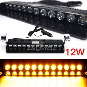 Us Amber 12 Led Car Strobe Light Hazard Warning Flash Visor Dash Lamp