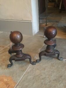 1800 S Vintage Fireplace Dog Irons
