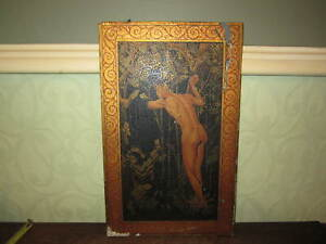 An Old Painted Art Deco Panel Male