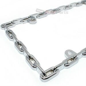 Chrome Chain Link Metal Custom License Plate Tag Frame For Auto Car Truck Suv
