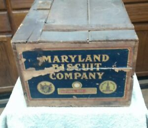 Vintage Wooden Shipping Crate Maryland Biscuit Co